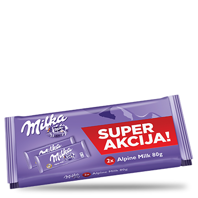 ČOKOLADA MILKA ALPINE MILK 2X80G